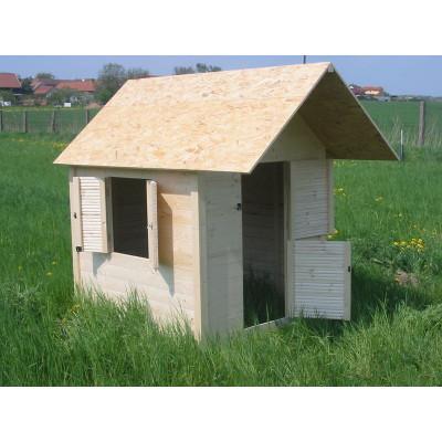 Dětský domek dřevěný Standard s přesahem střechy 120x140x170 cm